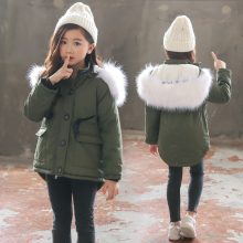 3-11 years old Girls Winter coat Kids Faux Fur Collar Children  Outwear Bow belt velvet thickening Army green long trench