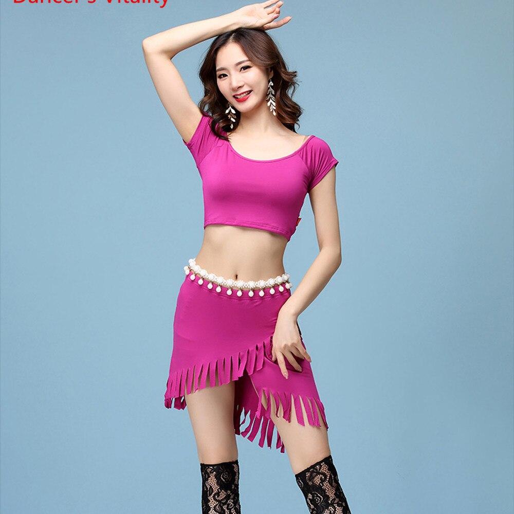 New Arrival Women Belly Dance Costume 2 Piece Set Modal Dancewear Short Sleeve Round Neck Top Hip Scarf Short Skirt