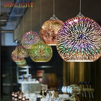 Classic Design LED Lamp Pendant Light 3D Colorful Plated Glass Mirror Ball Hanging Light Fixture