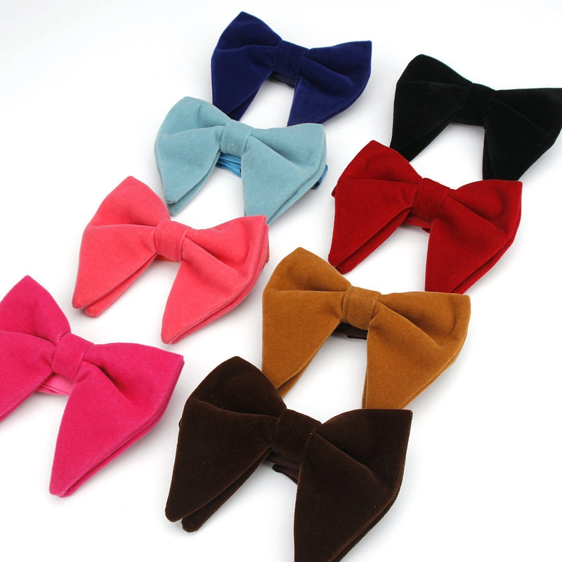 Men Velvet Solid Red Oversized Bowtie Wedding Party Tuxedo Business Bow Tie