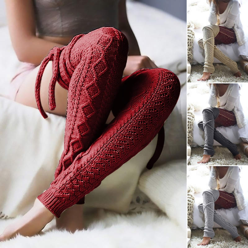 Women Winter Solid Color Warmers Knee Cable knitted Sexy Thigh High Stocking-m15
