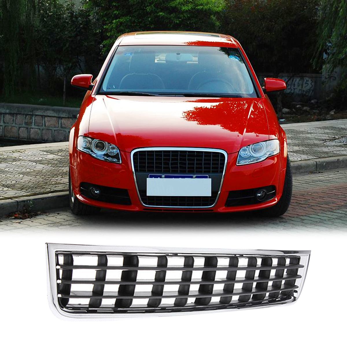 Front Bumper Center Lower Grille Grills For Audi A4 B6
