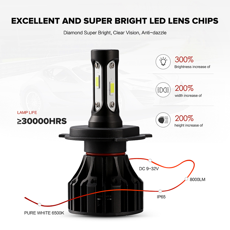 Oslamp T5 72W H4 Led Headlight for Car 6500K White COB Chips All-in-one LED H7 Car Lights with Cooling Fan 12V H11 9005 9006 HB4