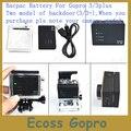 GoPro Bacpac Gopro Батареи Большой Емкости Батареи для GoPro Hero3 + (плюс)/+ водонепроницаемый корпус Задняя дверь + USB Кабель Для Зарядки