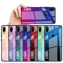 Tempered Glass Case For Xiaomi Redmi Note 5 6 7 Pro 6A Luxury Back Cover Gradient Color Case For Xiaomi Mi A1 A2 8 9 Lite Capas(China)