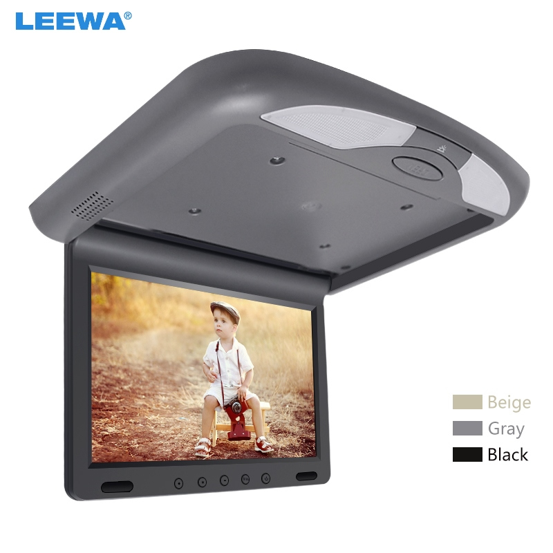 LEEWA 10.1 Inch Car Roof Mounted TFT LCD Monitor 2-Way Video Input Flip Down Multimedia Video Ceiling Roof mount Display #CA1081 10 4 inch tft lcd car monitor roof mount ceiling flip down display connect car dvd player ir emission video auto slim monitor