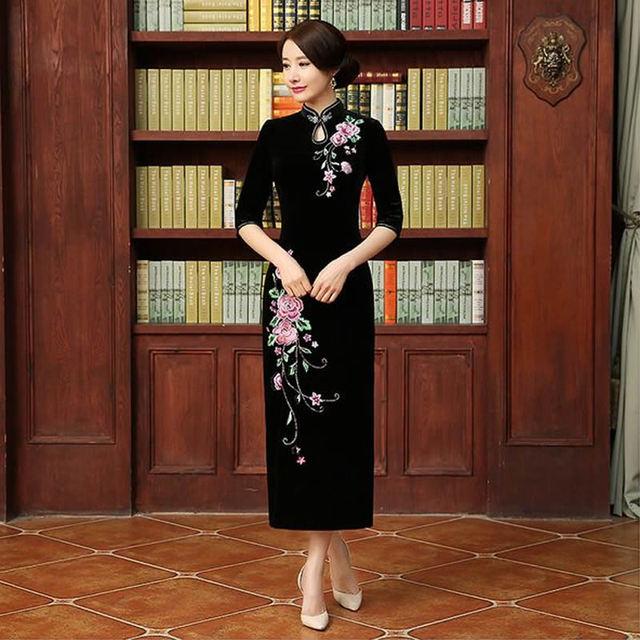 2016 New Long Cheongsam Modern Qipao Dress Chinese Dresses Chinese Traditional Dress Women Oriental Dresses Qi Pao