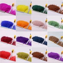 ФОТО hot 5 meters 10-15cm top high quality real colored ostrich feather trims for skirt/dress/costume feathers ribbon plumes trimming