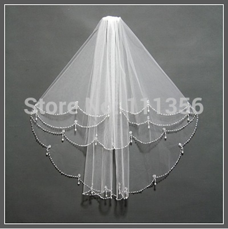 New White Ivory 2T Exquisite Beaded Edge Bridal Accessories Veils Wedding Veil With Comb