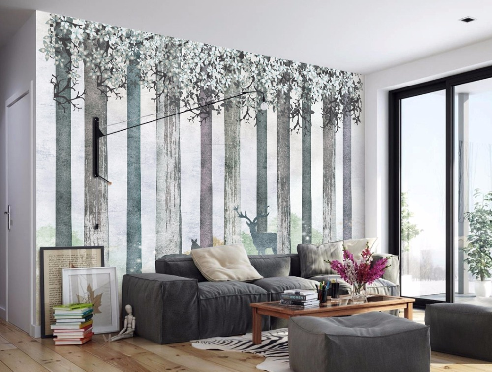 Cutom 3D wall paper mural nature tree forest on the wall wholesale for living room bedroom wall decor wallpaper