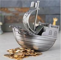 creativeRetro pirate ship metal piggy bank coin bank money jar money box pig for chirdren's gift kids money box PB015