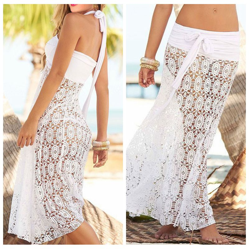 a76854842a0f5 Mesh Swimsuit Cover up Women Hollowing Sexy Summer Beach Shirt White Black  Sarong Top Skirt