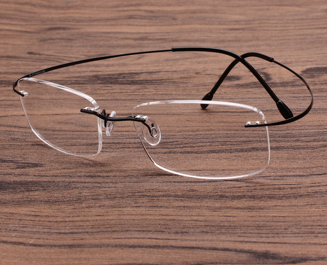69d2b2ef2cb Luxury Pure Titanium 52mmGun Gray Gunmetal Silver Gold Golden Rimless  Flexible Eyeglass Frame Optical Eyewear Spectacles RX-able