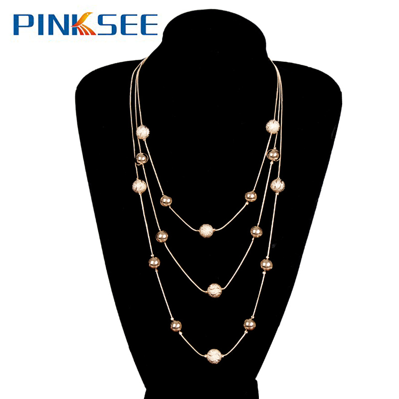 8 Designs Trendy Simulated Pearl/Beads Multilayer Bohemia Sweater Chain Necklace For Women Alloy Chain Long Necklaces