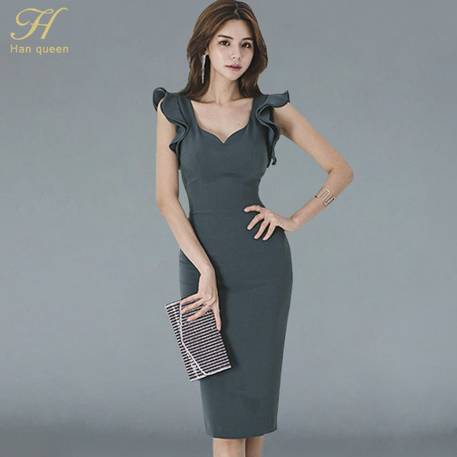 H Han Queen New Summer Women Vintage Sexy V-neck Sleeveless Work Business Office Party Bodycon Pencil Sheath Dress 1