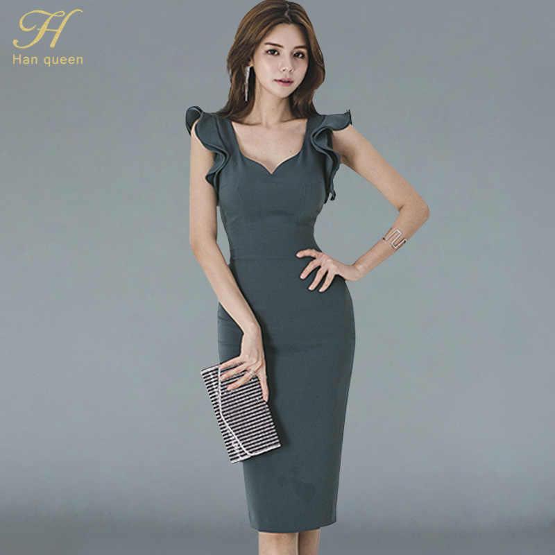 9fe9da2d3c3 H Han queen новые летние женские винтажные сексуальные с v-образным вырезом без  рукавов рабочие