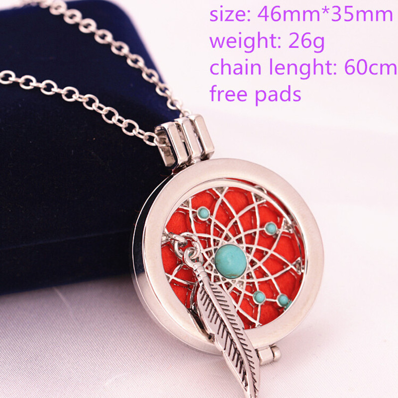 Wholesale Zinc Alloy Aromatherapy Necklaces  Crystal Essential Oil Diffuser Necklace Perfume Locket Pendant for Women