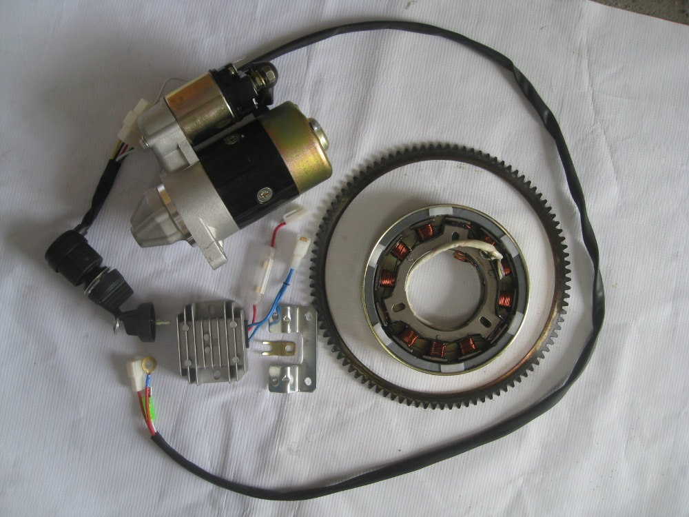 ELECTRIC START KIT CW DRECT FOR DIESEL 186F 9HP TILLER 5KW GENERATOR W STARTER MOTOR TOGGLE