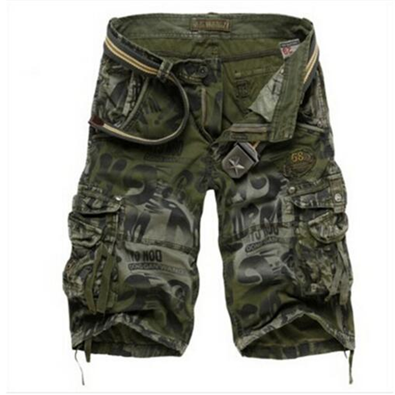 Dropshipping Men's Camouflage   Shorts   Plus Size 29-42 Summer Army Cargo   Shorts   Workout   Shorts   Loose Casual Trousers NO BELT
