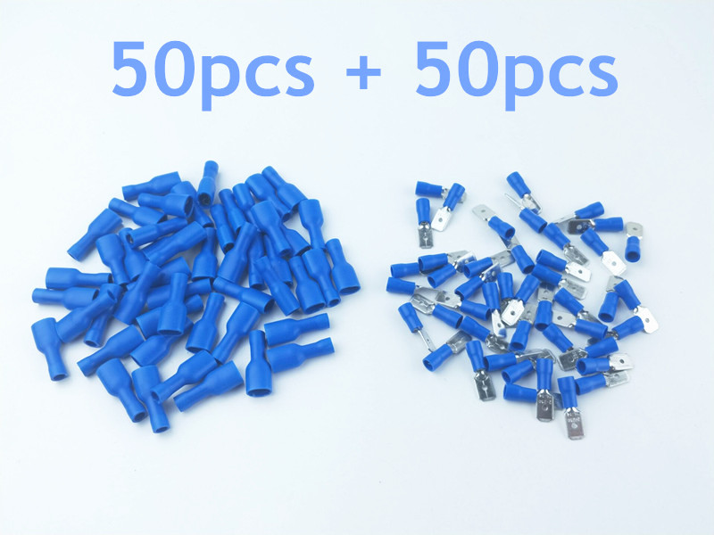 100PCS blue 16-14AWG Insulated Spade Crimp Wire Cable Connector Splice Terminal Male/Female Kit Insulated Spade Connectors automotive connectors male cont stamped formed 14 16 awg nic 100 pieces
