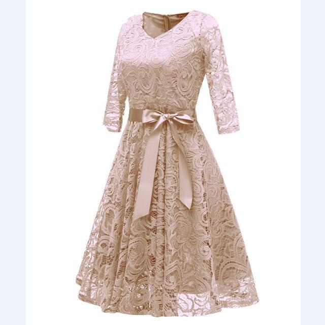 CD1592X#Beige V-neck Bow Lace Short Evening Dresses Classmate party dress prom bridal gown cheap wholesale women's clothing 2