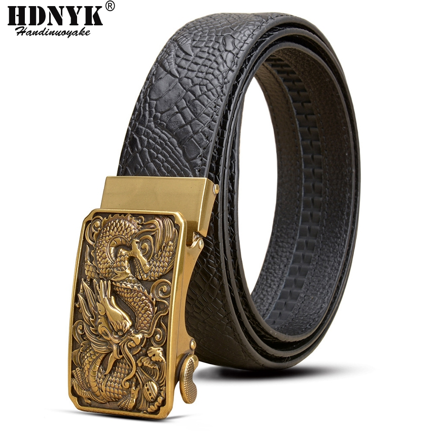 2019 New Full Grain Leather Brand Dragon Designer Automatic Buckle Men's Belt  Genuine Leather Belt Silver Golden Belts for Men