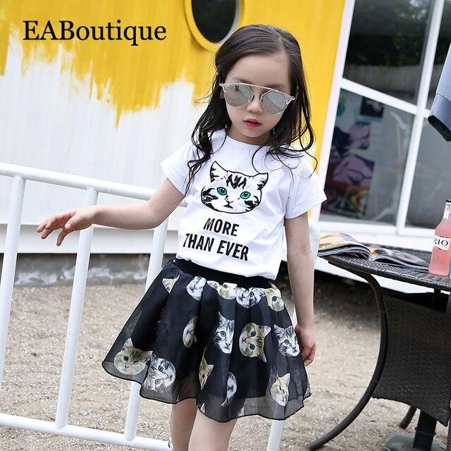 EABoutique 2017 Новый мать и дочь одежда мода письмо печатные мультфильм cat pattern котенок одежда набор пряжи юбки
