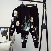 Güz Kış Yeni 2017 Tasarımcı Pist Suit Set kadın Kısa Kollu Çarpıcı Nakış Örgü Pantolon Suit Set Tops