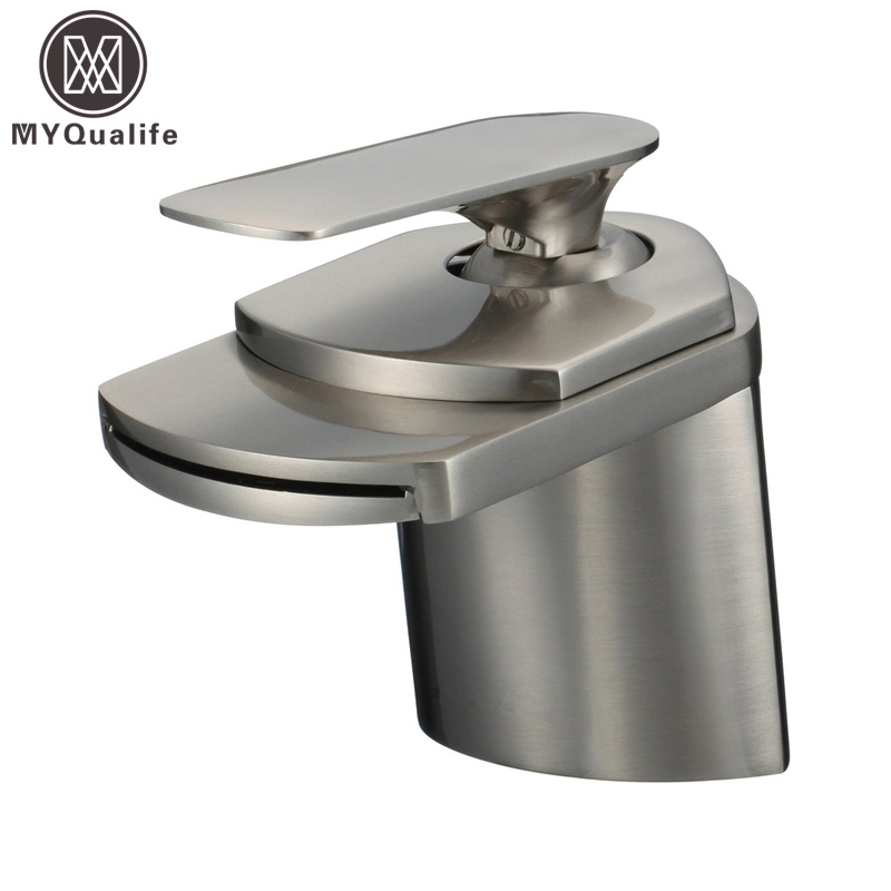 Free Shipping Brushed Nickel Basin Sink Faucet Deck Mount Waterfall Hot and Cold Water Bathroom Mixer Taps wall mounted dual handle waterfall basin faucet brushed nickel hot and cold wash basin mixer taps