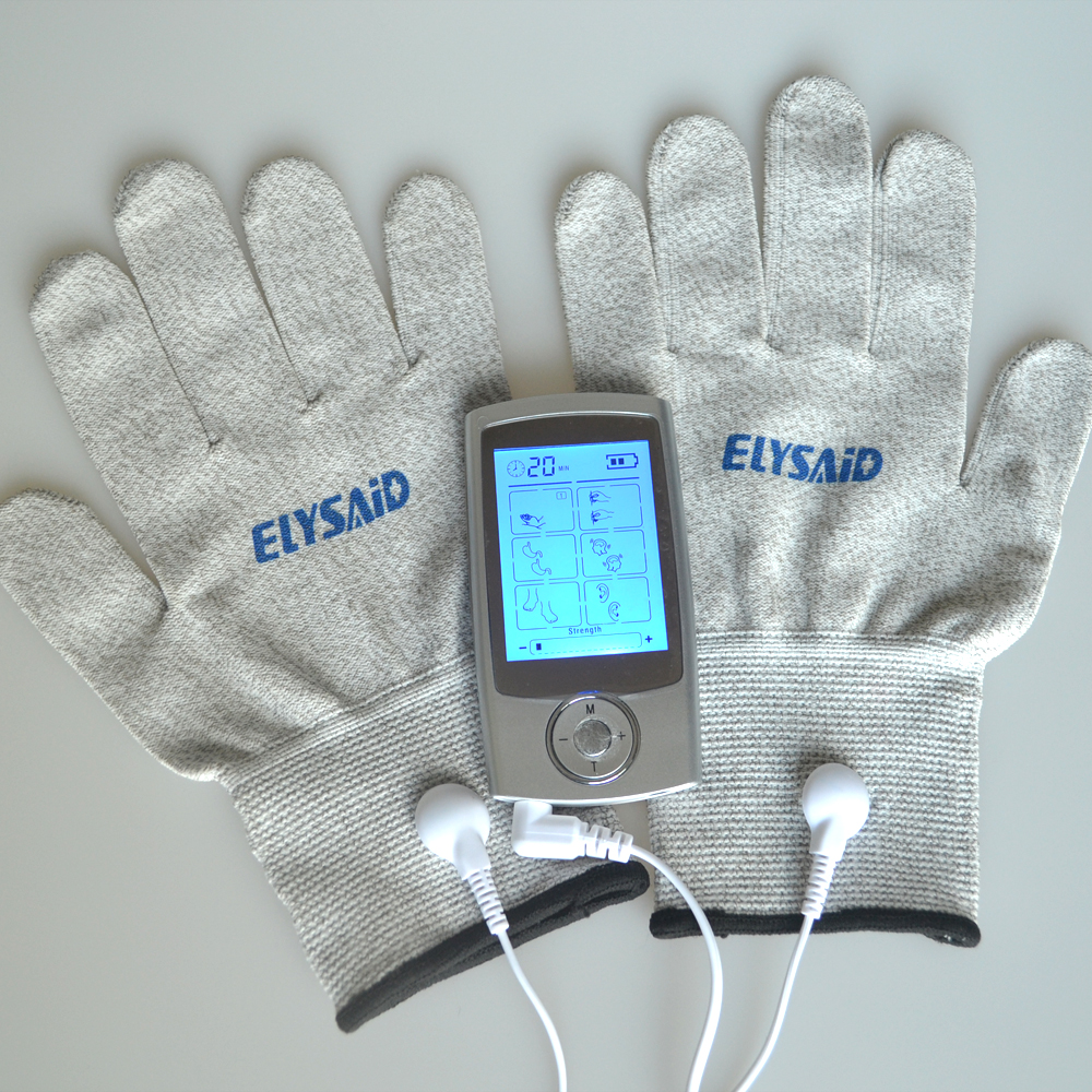 Health Care TENs Massager Digital Therapy Machine Muscle Stimulator+1Pair Hands Care Conductive Electrode Fiber Silve Gloves electric muscle stimulator machine prostate porn health care supplement