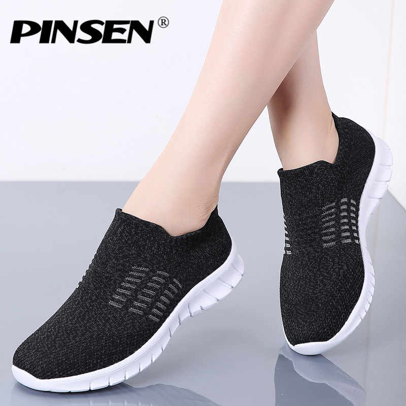 Pinsen new 2020 가을 운동화 여성화 통기성 캐주얼 플랫 슈즈 여성 슬립 온 편안한 여성 신발 tenis feminino