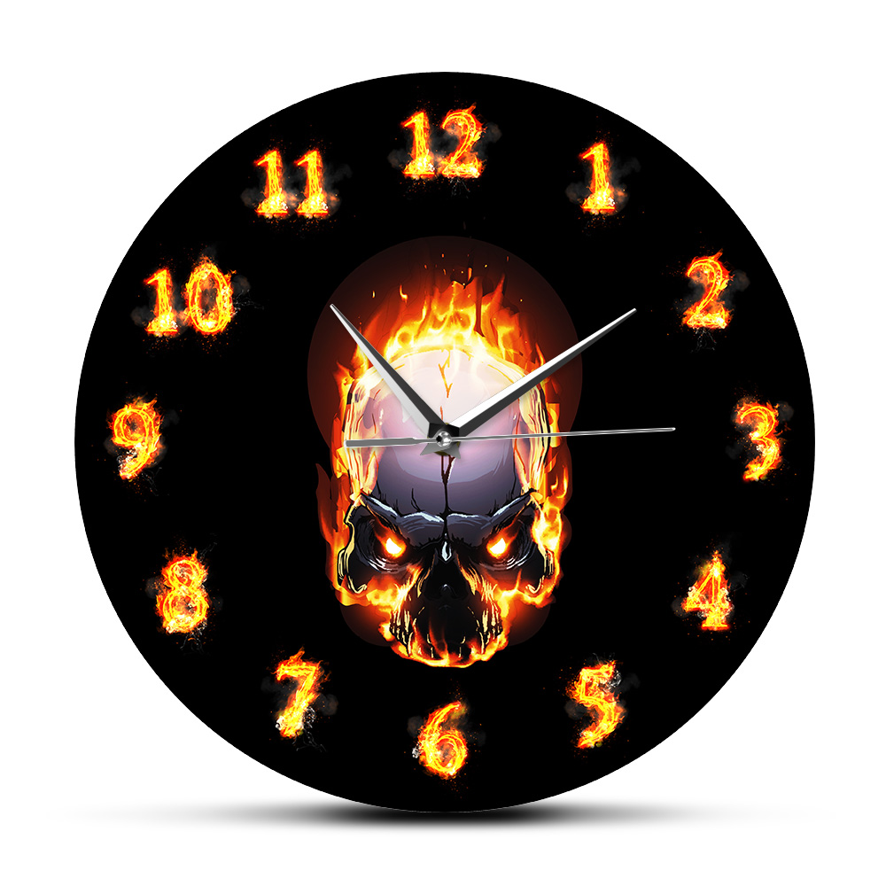 Demon Skull In Fire With Burning Numbers Modern Wall Clock Heavy Metal Flaming Hell Death Skull Wall Watch Halloween Horror Art
