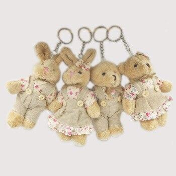 2 unids/lote 11cm pareja conejo oso de peluche juguetes de peluche de tela Floral oso de peluche conejo muñecas clave/colgantes de bolso regalo para los amantes de las niñas