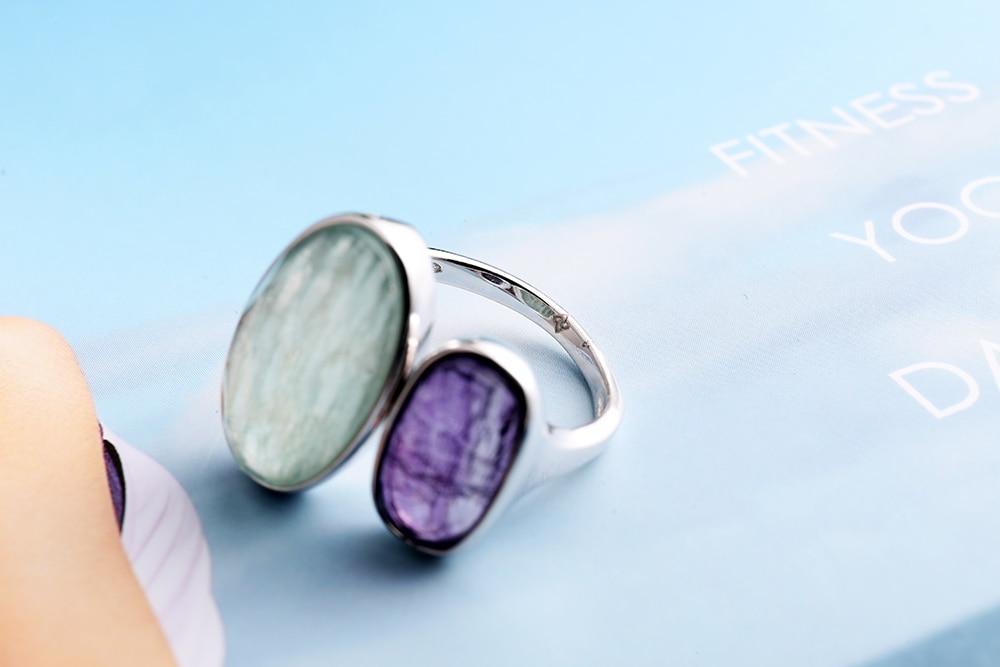 DORMITH real 925 argent sterling pierres précieuses anneaux naturel amazonite fluorite pierre anneaux pour femmes bijoux taille réglable anneau - 4