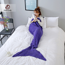 купить Parkshin Mermaid Throw Blanket Handmade Mermaid Tail Blanket for Adult Kid Multi Colors 2 Size Sofa Blanket Wholesale по цене 888.39 рублей