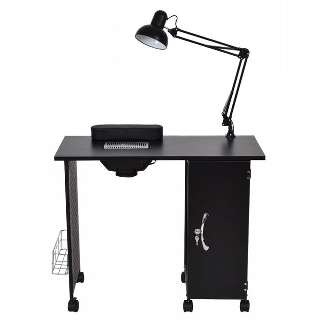 Giantex Manicure Nail Table Station Black Steel Frame Beauty Spa ...