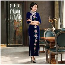 2018 Luxury Manual Nail Bead Embroidery Velvet Mother Cheongsam Chinese Oriental Dresses Long Qipao Women Qi Pao Dress QP party