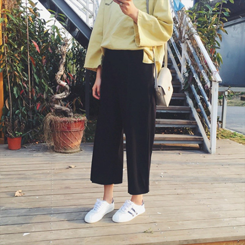 Women High Waist Solid Loose   Pants   Elegant 2018 Fashion Summer   Wide     Leg     Pants
