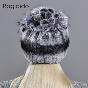 Image 3 - Raglaido Fur Hats for Women Winter Real Rex Rabbit Hat Fox fur kniting female warm snow caps ladies elegant princess beanies cap