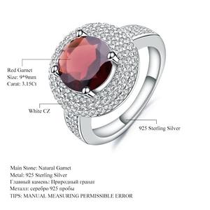 Image 5 - פנינה של בלט 3.15Ct טבעי אדום גרנט חן טבעת 925 כסף סטרלינג אירוסין קוקטייל טבעות לתכשיטי נשים