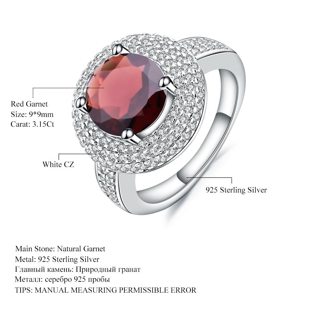 Image 5 - Gems Ballet 3.15Ct Natural Red Garnet Gemstone Ring 925 Sterling  Silver Engagement Cocktail Rings For Women Fine JewelryRings   -