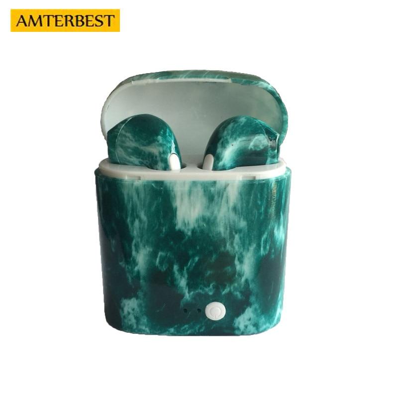 AMTERBEST Prodotto Personalizzato Colorato disegno Auricolare Bluetooth Gemelli Bluetooth V4.2 Auricolare Stereo del Trasduttore Auricolare per il dispositivo Bluetooth