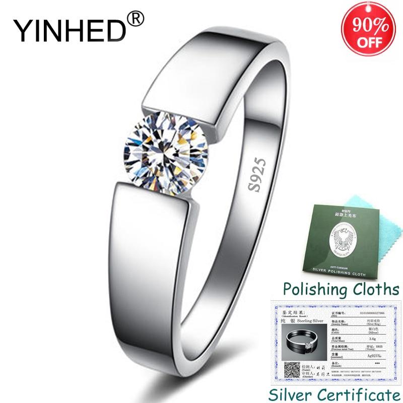 Certificado de prata enviado! Yinhed 100% 925 prata esterlina jóias de casamento para mulheres masculinas 5mm cz diamante solitaire anel zr550
