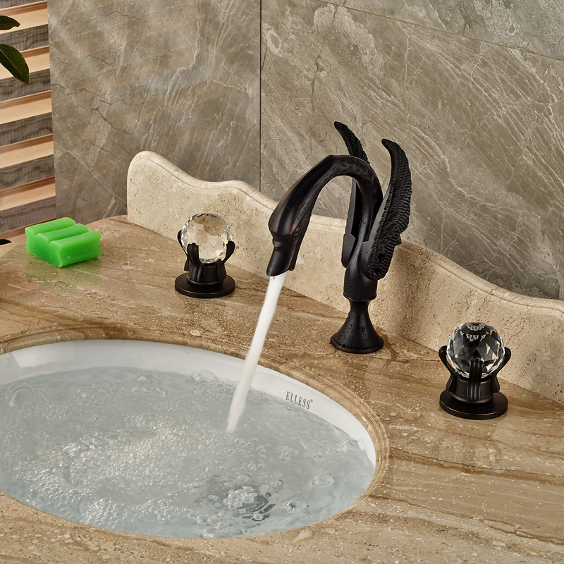 Modern Deck Mount Lavatory Sink Basin Faucet Dual Handle 3 Install Holes Swan Style Mixer Tap Oil Rubbed Bronze new deck mount golden basin faucet white paint swan shape vessel sink mixer tap
