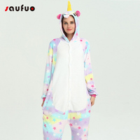 Stars Unicorn Pajamas Sets Winter Cute Animal Flannel Pajamas Warm Hooded Pyjamas For Women Adult Sleepwear