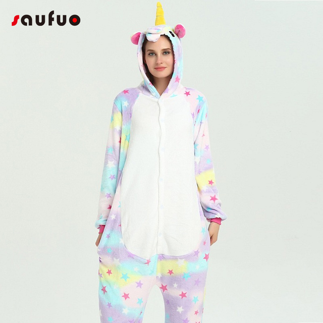 Stars Unicorn Pajamas For Women Ladies Kigurumi Winter Cute Animal Flannel Hoodie Pyjama Adult Sleepwear Pijama Unicornio