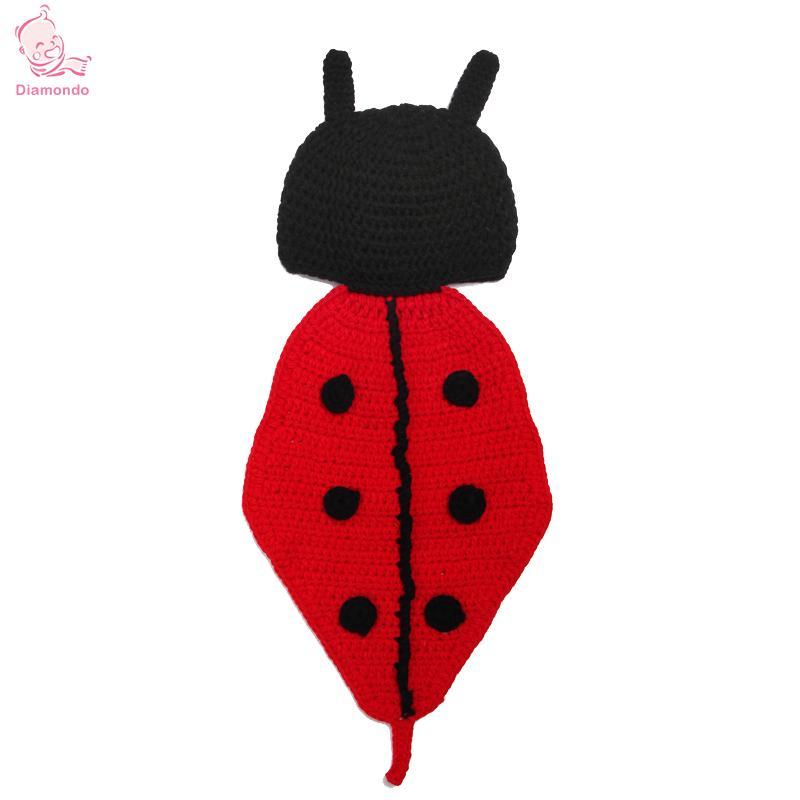 Newborn Photography Props Crochet Knitted Cartoon Beetle Baby Hats Handmade Winter Infant Girls Boys Beanie Hat Baby Clothes Set