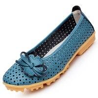 New Women Genuine Leather Flats Shoes Cut Outs Ballet Women Flats Comfort Shoes Women Moccasins