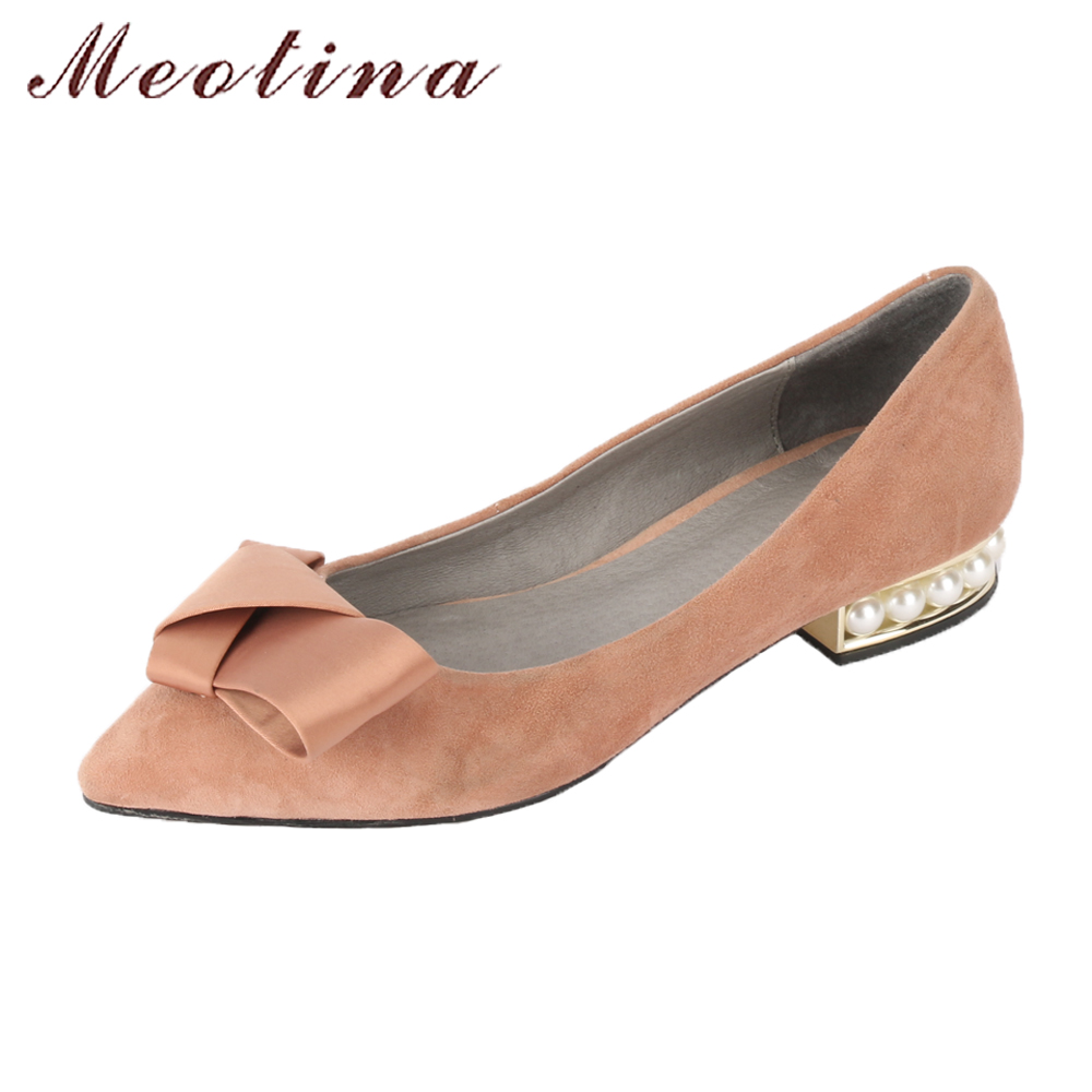 Meotina Women Shoes Flats Genuine Leather Suede Shoes Boat Flats Pearls Bow-knot Pointed Toe Slip On 2018 Spring Shoes Ladies meotina women flat shoes ankle strap flats pointed toe ballet shoes two piece ladies flats beading causal shoes beige size 34 43