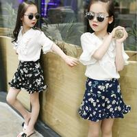 2017 fashion summer children clothing sets kids girl Petal collar Petal short sleeve Chiffon tops + printed skirt suits clothes